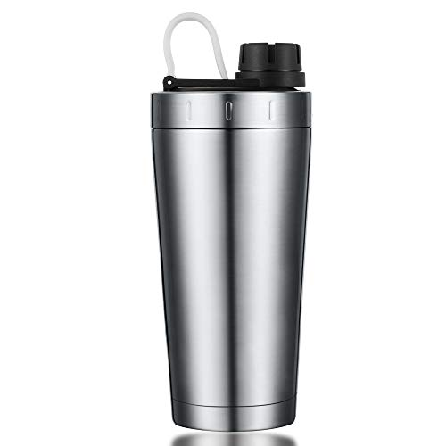 Stainless Steel Shaker Bottle Insulated Dishwasher Safe |100% Leak Proof |Durable Protein Shaker Bottle for Gym Workout Supplements Sports Fitness Travel Office Metal Shaker Bottle