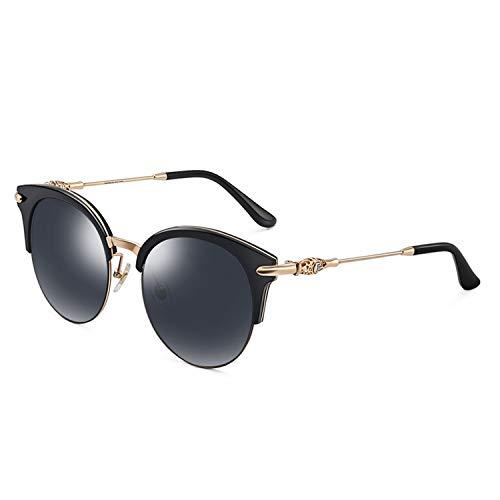 Fashion Semi-Rimless Round Polarized Sunglasses For Women Cute Floral Frame Accessories 9675,Black