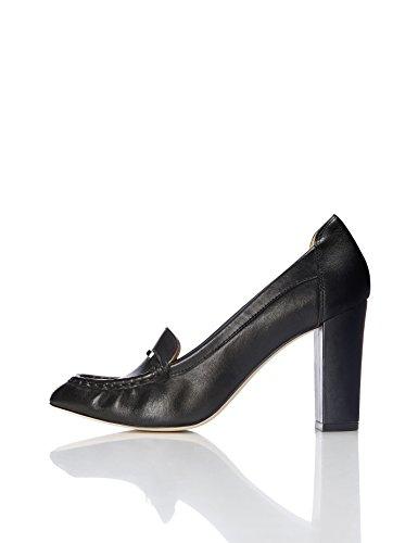 FIND Damen Loafer-Pumps Aus Leder Schwarz (Black)