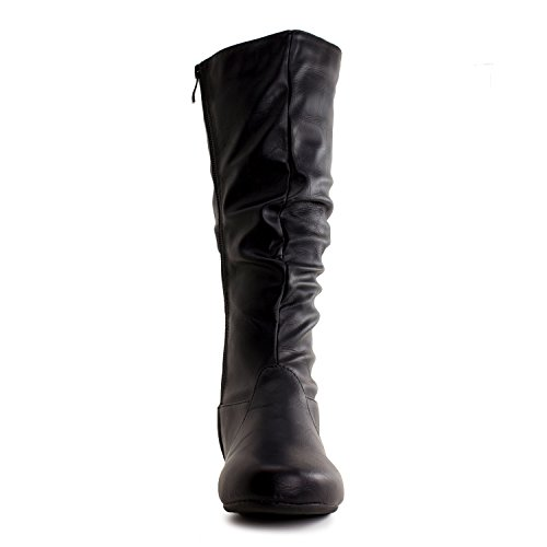 Generation19 Womens Mid Calf 13 Inch Faux Leather Boots (Adults) Black 6ZL5WVhtEv