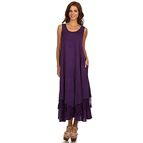 Sakkas 15222 - Emma Relaxed Fit Scoop Neck Double Layered with Fringe Tank  Dress - Purple - 1X/2X