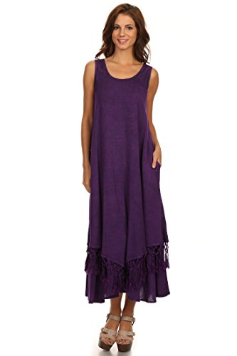- Sakkas 15222 - Emma Relaxed Fit Scoop Neck Double Layered with Fringe Tank Dress - Purple - L/XL