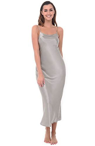 Classic Silk Chemise (Alexander Del Rossa Womens Satin Nightgown, Full Length Camisole Chemise, Medium Mercury (A0778MRCMD))