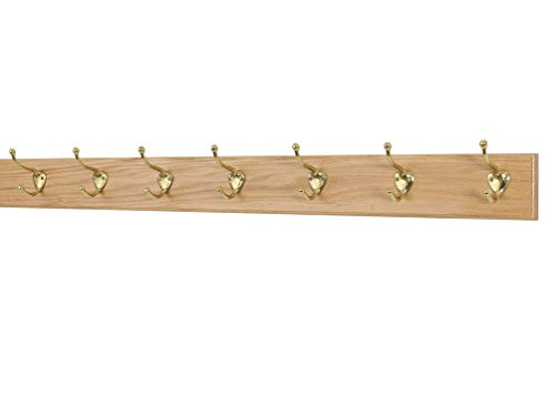 (Solid Oak Coat Rack with Solid Brass Hat and Coat Style Hooks - Made in The USA (Natural, 36