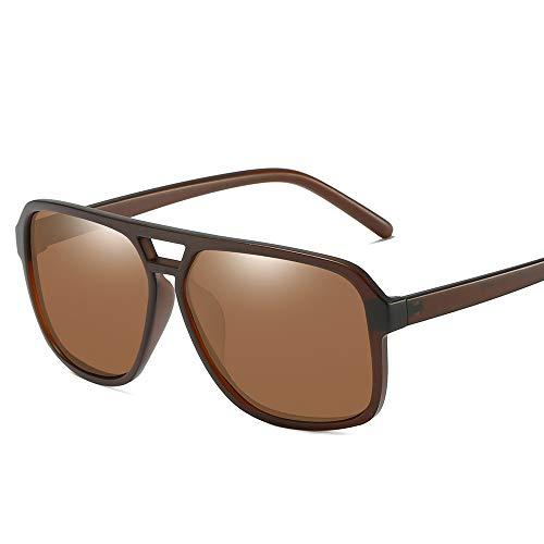 58mm Large Square Aviator Sunglasses Men Polarized Vintage Double Bridge Frame (Matte Brown, 58) ()