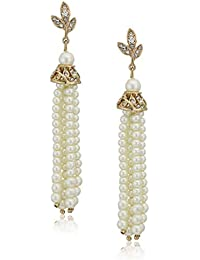Women's Pierced Earrings Post Pearl Free Tassel, White