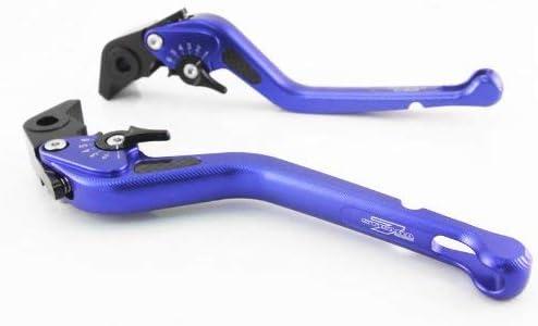 Strada 7 Racing Carbon Long Adjustable Levers Pair Blue For Suzuki GSX650F