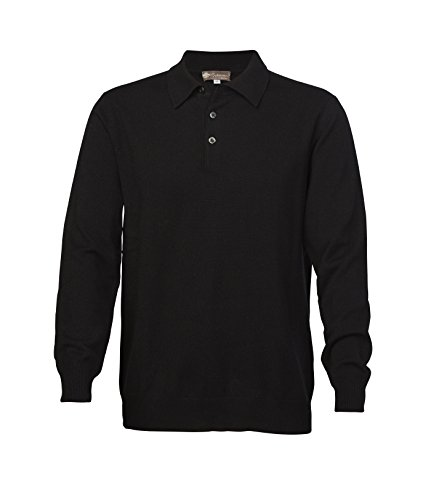 Men's Pure Cashmere Polo Sweater (Black, Extra Large) (Cashmere Polo)