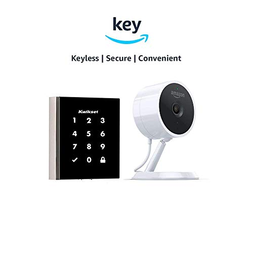 Kwikset Obsidian Keyless Touchscreen Electronic Deadbolt + Amazon Cloud Cam | Key Smart Lock Kit (Nickel)