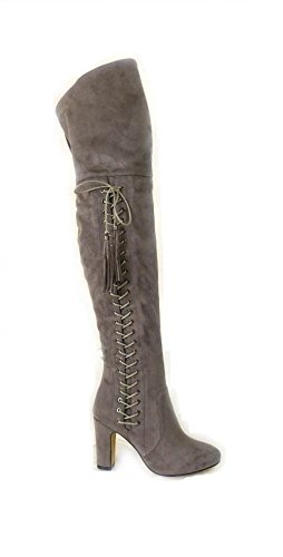 LADIES WOMENS LAURA EYELET DETAILED BLOCK HEEL THIGH HIGH LACE ZIP UP BOOT Taupe (2742) Rxn53BpcO