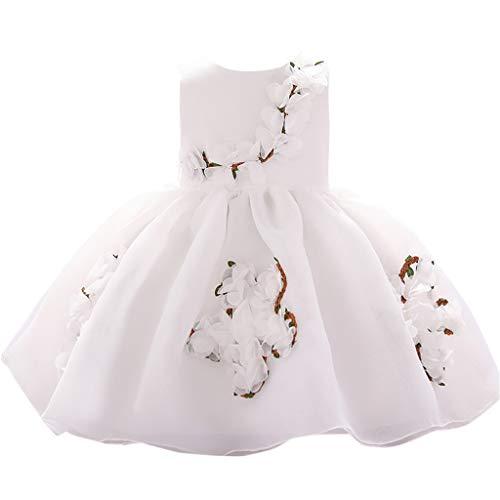 WOCACHI Toddler Kids Baby Girls Flower Princess Party Performance Formal Tutu Dress Infant Bodysuits Rompers Clothing Sets Christening Short Sleeve Organic Cotton -