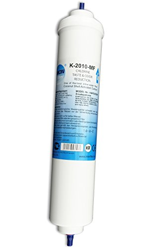 UN-1. Wasserfilter für Samsung, LG, AEG, Side by Side Kühlschrank Filter extern. Kühlschrankfilter mit integriertem Schlauchanschluss.