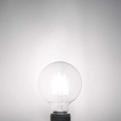 LED Globe G25 Dimmable Edison Light Bulbs 60W Replace, 7Watt, Medium Screw Base E26, 4000K Daylight White, 800Lm, Omnidirectional Bathroom Vanity Mirror Light, 6-Pack