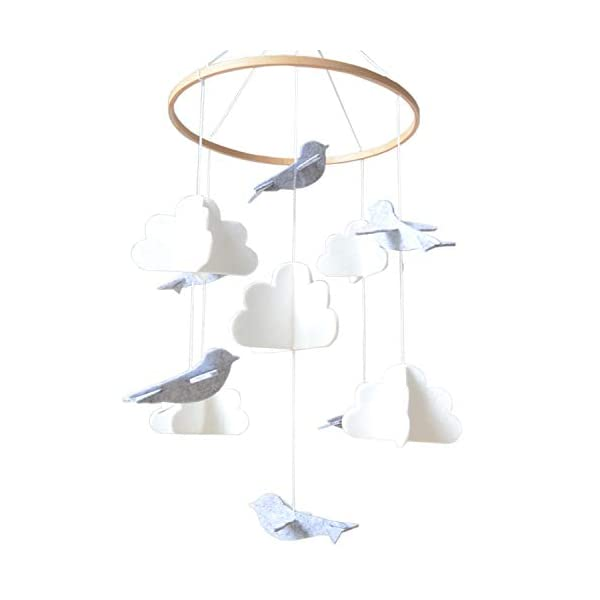 Baby Crib Mobile by Sorrel & Fern – Birds & Clouds- Felt Nursery Ceiling Decoration for Girls & Boys | Grey & White |