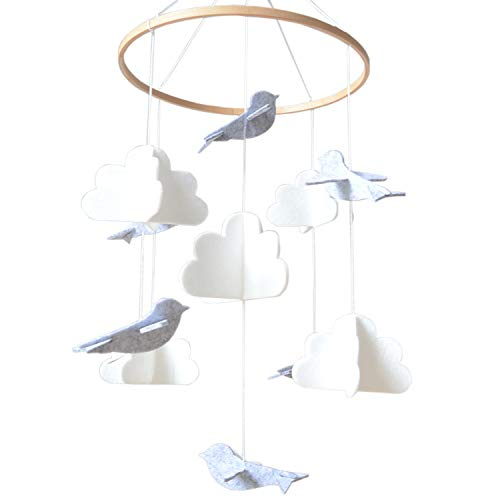 Baby Crib Mobile by Sorrel & Fern - Birds & Clouds- Felt Nursery Ceiling Decoration for Girls & Boys | Grey & White | ()