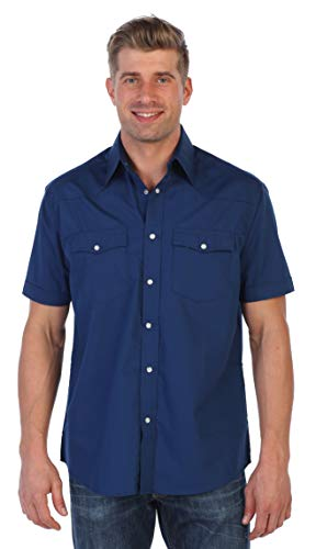 Gioberti Mens Casual Western Solid Short Sleeve Shirt With Pearl Snaps, Navy, 4X Large