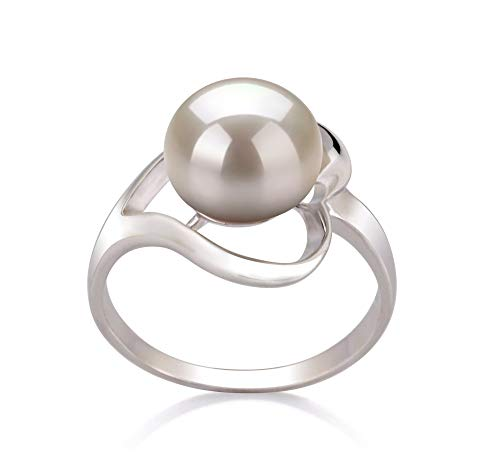 Sadie White 9-10mm AA Quality Freshwater 925 Sterling Silver Cultured Pearl Ring For Women