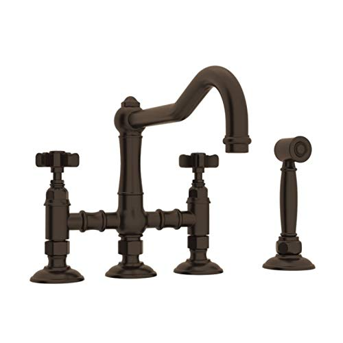 Rohl A1458XWSTCB-2 Country Kitchen Three Leg Bridge Faucet with Five Spoke Handles Sidespray and 9-Inch Reach Column Spout in Tuscan Brass 5 Spoke Faucet Handles