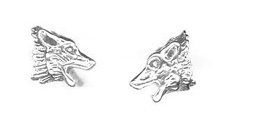(Sterling Silver Mini Howling Wolf Head Earrings On Posts)