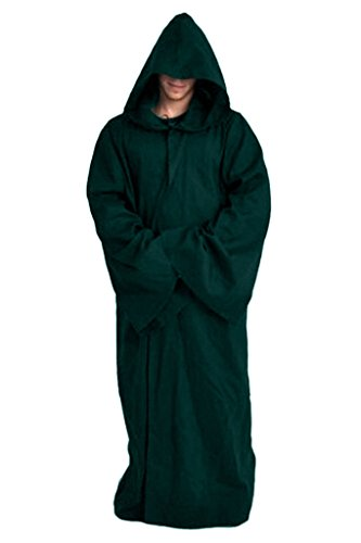 Mens Halloween Witch Cosplay Robe Costume Adult Hooded Cloak Cape,Green,Medium