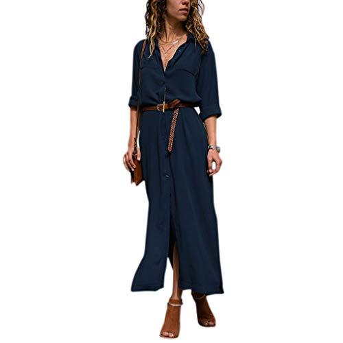 Occasionnels Longues Les Split Fogun roul boutonnire Bleu Dress Shirt Manches Solide Femmes col Maxi pYdqw0Y