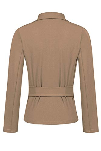 Abricot Bureau Front Blazers Veste Cardigan Yacun Open Femme Slim Ceinturé qFzF7HS