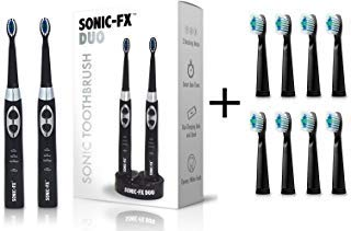 Sonic-FX Duo Electric Toothbrush Set Plus 8-Pack of Replacement Brush Heads (Black) ()