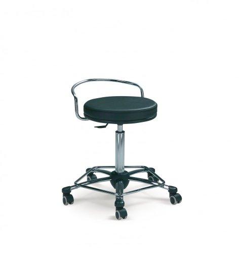 Mayer Sitzmöbel Drehrollhocker Arbeitsdrehhocker 1254 Gestell chrom Sitz rund gepolstert Bezug Stoff oder Kunstleder Bezug Kunstleder 26451