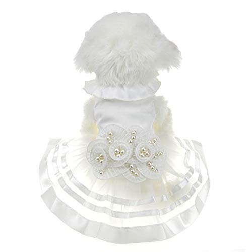 FLAdorepet White Pearl Flower Dog Puppy Luxury Bow