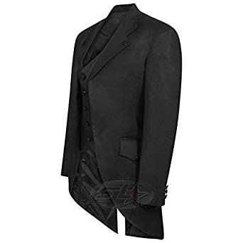 Men/'s Steampunk Tailcoat Jacket  Gothic Victorian Coat Attached Waistcoat