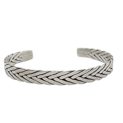 Sterling Silver Handmade Braided Cuff Bracelet Boho Hippie Woven Silver Bangle for Women or Men