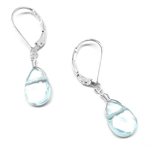 Lab Grown Aqua Quartz 12x8mm Briolette Lever Back Earrings Sterling Silver