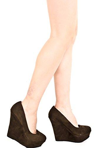 Juicy Heel Platform Sandal (FOREVER LINK VELVET PLATFORM WEDGE PUMP 5 olive)