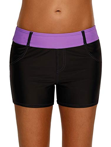 Dearlove Womens Color Block Waistband Board Shorts Swim Trunks Tankini Bottoms Boyshort Swimsuit Panty with Pockets Purple M 8 10