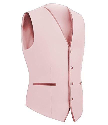 Vest Jacket Rosa Uomo Ragazzo Da Tuta Maniche Capispalla Scollo Tuxedo A Monopetto Senza Slim V Giacche Fit nwFqIxYq