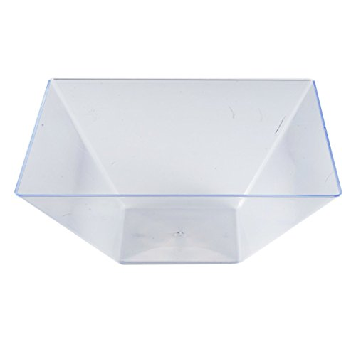 Kaya Collection - Clear Plastic Square Serving Bowls 128oz - Disposable or Reusable - 1 Pack (3 Bowls) Disposable Serving Bowls