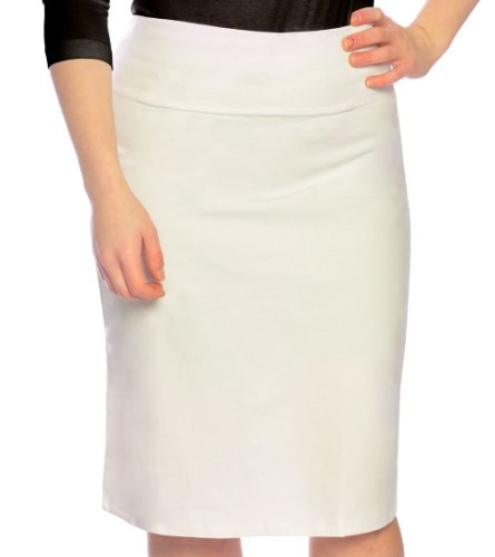 Kosher Casual Women's Modest Knee Length Stretch Pencil Skirt in Lightweight Cotton Lycra Small White