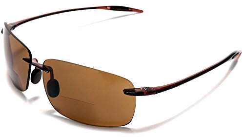 (Samba Shades Maui Sports Navigator Bi-Focal Sun Readers Sunglasses Ultra Flex TR90 Brown +2.50)