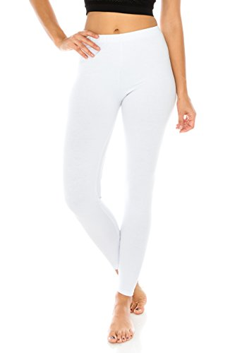 The Classic Women's Stretch Jersey Sports Yoga Full Length Leggings Pants Plus in White - 2XL