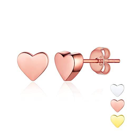 Rose Gold Plated Sterling Silver Minimalist Heart Earrings Studs Mini Dainty Love Heart Stud Earrings for Women Girls