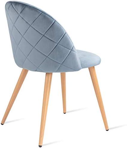 Mc Haus SOFI 2er Set Stühle Esszimmer gepolstert in perlblauem Samt, Bettsessel Schlafzimmer mit Rückenlehne und Sitzkissen 49x46x77cm
