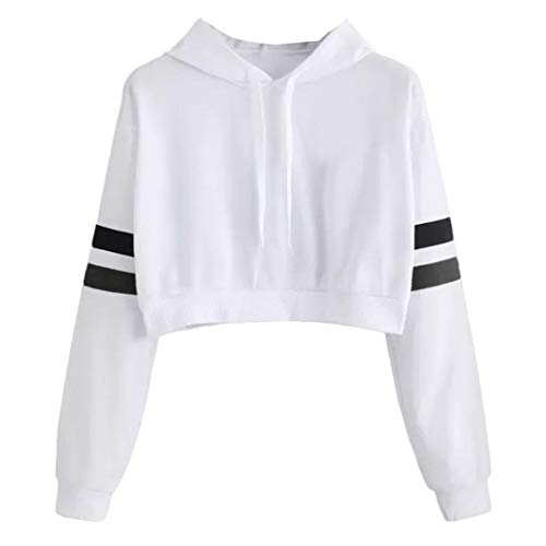 Clearance Sale! Hoodies Crop Top for Teen Girls, Iuhan Women's Girl's Casual Solid Long Sleeve Hooded Sweatshirt Pullover Tops Blouse (M, White) -