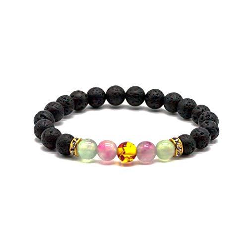 LNKRE JEWELRY Yoga Distance Beaded Anxiety Relief Bracelets Natural Semi-Precious Gemstones Elastic Bracelet (Heart Precious Stone)