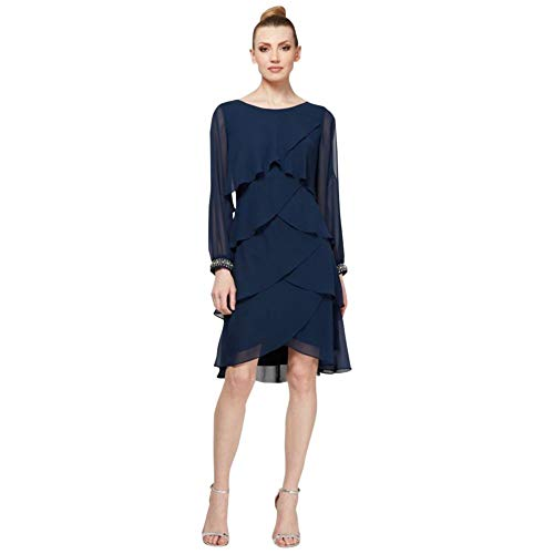 Short Tiered Split Sleeve Mother of Bride/Groom Dress with Beaded Cuffs Style SL170162, Navy, 16