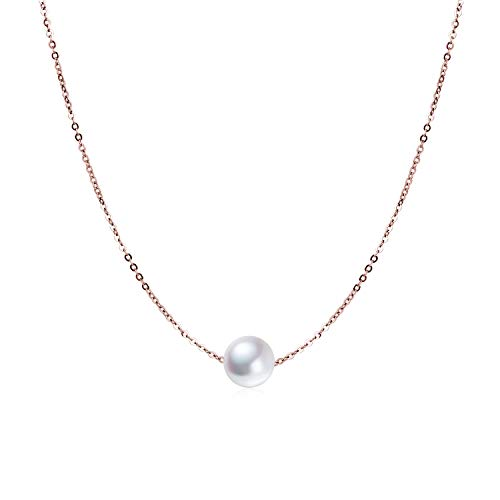 Sterling Silver Rose Gold Plated Single Pearl Choker Necklace for Women Girls 7-8mm Freshwater Cultured Pearls Wedding Bridesmaids Anniversary Gifts ()