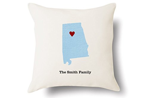 Personalized Alabama Pillow - State Map Felt Appliqué - 100% Off-White Cotton - 4 Color Choices - Blue Green Pink Tan - 18x18