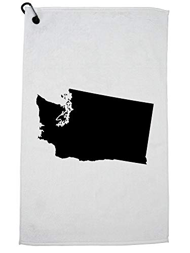 Hollywood Thread Washington State Silhouette - Home State Golf Towel with Carabiner Clip (Home Vancouver Goods Wa)