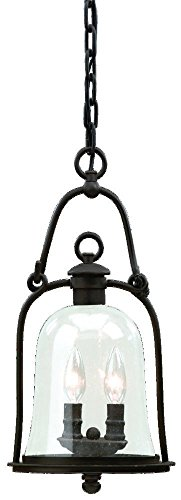 Natural Bronze Mill - Troy Lighting Owings Mill 2-Light Outdoor Pendant - Natural Bronze Finish with Clear Seeded Glass