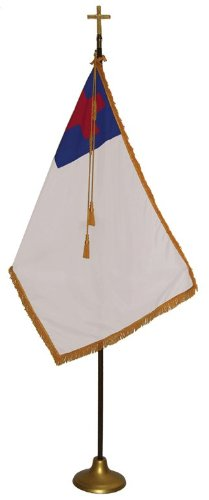 3×5 FT Indoor Sewn Christian Flag Parade Set 7ft Pole For Sale