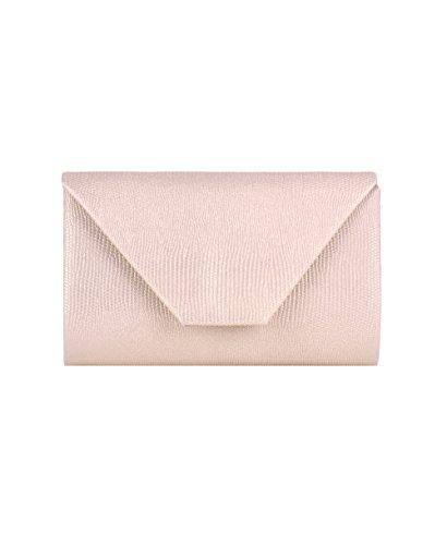 KRISP® Damen Handtasche Kleine Handliche Glitzer Clutch Rosa (2353) JuNwP
